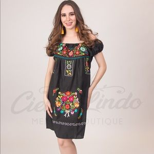 Mexican Black Dress Off-Shoulder Floral Embroidery